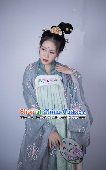 Traditional Chinese Ancient Costume Palace Lady Embroidered Cardigan Slip Skirt, Asian China Tang Dynasty Imperial Princess Hanfu Clothing for Women