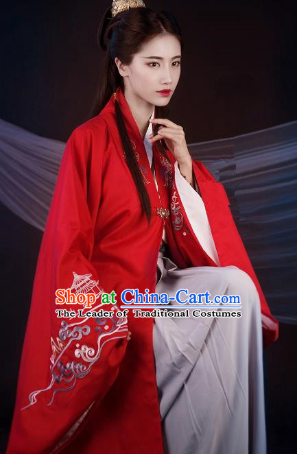 Traditional Ancient Chinese Palace Lady Hanfu Costume Red Embroidered Cloak, Asian China Ming Dynasty Princess Cardigan Clothing for Women