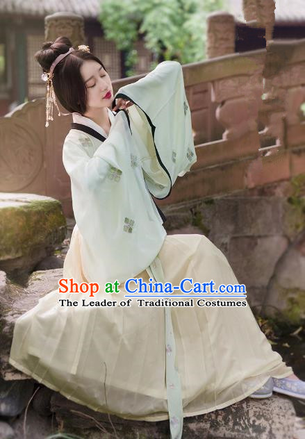 Traditional Ancient Chinese Palace Lady Hanfu Costume White Blouse and Skirt, Asian China Ming Dynasty Princess Clothing for Women