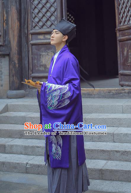 Traditional Ancient Chinese Hanfu Embroidered Purple Cloak Costume, Asian China Han Dynasty Imperial Prince Cardigan Clothing for Men
