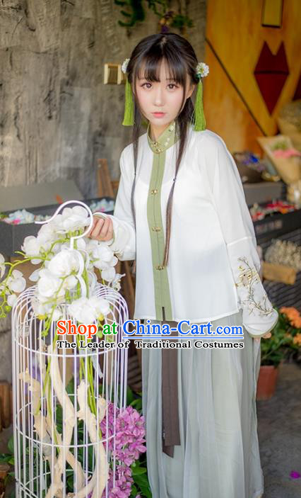 Traditional Ancient Chinese Palace Lady Hanfu Costume Embroidered Blouse, Asian China Ming Dynasty Imperial Princess Clothing for Women