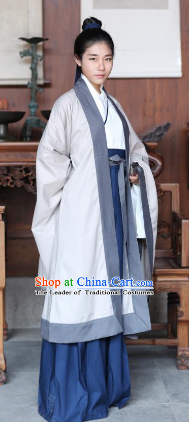 Traditional Ancient Chinese Hanfu Embroidered Costume, Asian China Han Dynasty Cardigan and Skirt Clothing for Men