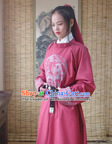 Traditional Ancient Chinese Swordsman Hanfu Costume Embroidered Red Robe, Asian China Tang Dynasty Imperial Guards Clothing for Women