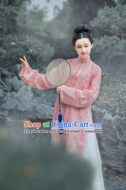 Traditional Chinese Ancient Costume Princess Embroidered Pink Blouse and Skirt, Asian China Ming Dynasty Palace Lady Hanfu Clothing for Women