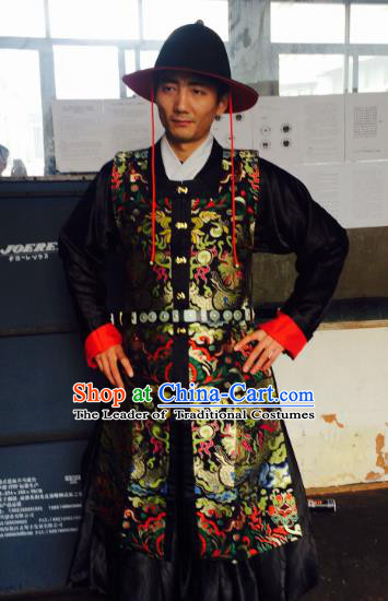 Traditional Chinese Ancient Costume Embroidered Black Vest, Asian China Ming Dynasty Swordsman Clothing for Men