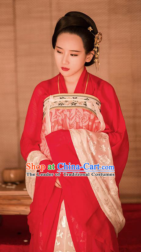 Traditional Chinese Ancient Costume Imperial Concubine Red Slip Skirt, Asian China Tang Dynasty Palace Lady Clothing for Women