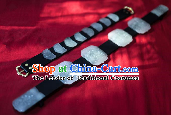 Traditional Ancient Chinese Emperor Hanfu Jade Belts, Asian China Ming Dynasty Imperial Guards Leather Waistband for Men