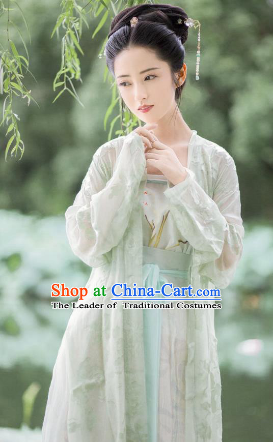 Traditional Chinese Ancient Costume Princess Embroidered Green BeiZi Complete Set, Asian China Song Dynasty Nobility Lady Hanfu Clothing for Women
