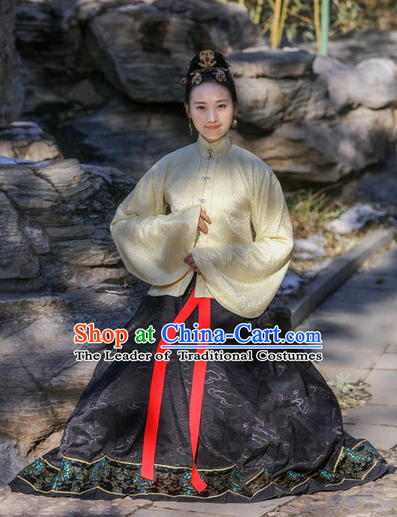 Traditional Chinese Ancient Costume Princess Blouse and Black Skirt, Asian China Ming Dynasty Palace Lady Hanfu Clothing for Women
