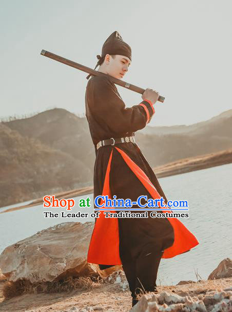 Traditional Ancient Chinese Swordsman Hanfu Costume Embroidered Black Robe, Asian China Tang Dynasty Imperial Guards Clothing for Men