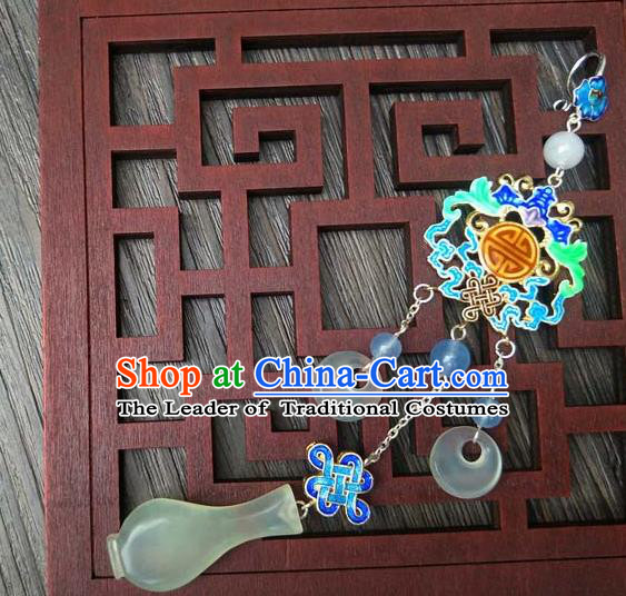 Traditional Handmade Chinese Ancient Classical Hanfu Wedding Accessories Tassel Jade Pendant Blueing Brooch for Women