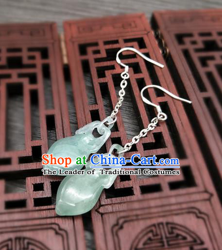 Traditional Handmade Chinese Ancient Classical Hanfu Wedding Accessories Eardrop Tassel Jade Earrings for Women
