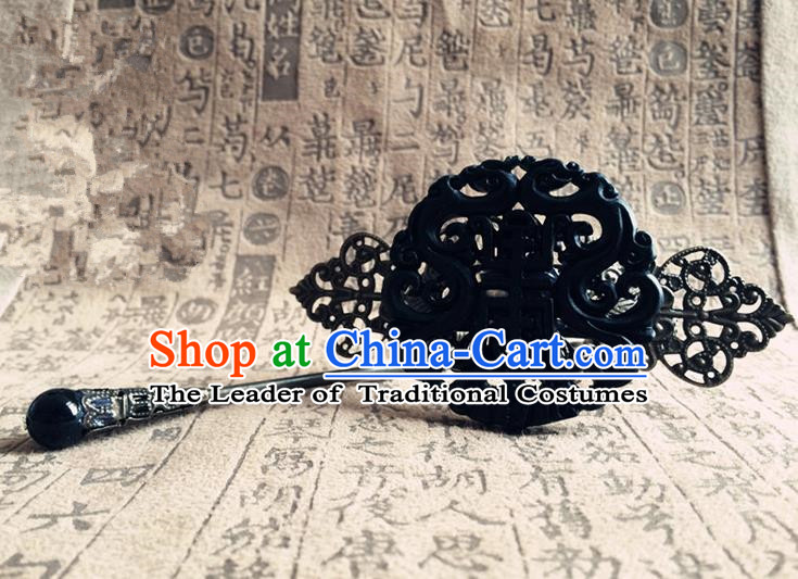 Traditional Handmade Chinese Ancient Classical Hair Accessories Qin Dynasty Emperor Black Jade Tuinga Hairdo Crown Hairpins for Men