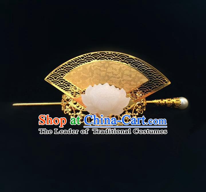 Traditional Handmade Chinese Ancient Classical Hair Accessories Qin Dynasty Nobility Childe Jade Golden Tuinga Hairdo Crown Hairpins for Men