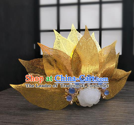 Traditional Handmade Chinese Ancient Classical Hair Accessories Queen Lotus Coronet, Princess Hair Fascinators Hairpins for Women