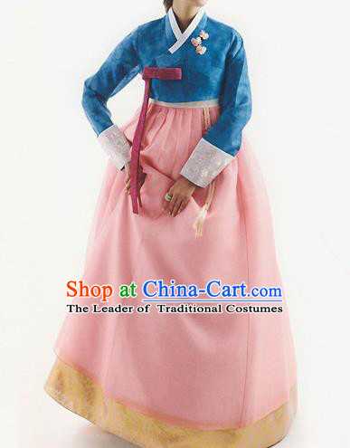 Traditional Korean Costumes Bride Formal Attire Ceremonial Peacock Blue Blouse and Full Dress, Korea Hanbok Court Embroidered Clothing for Women