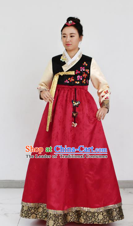 Traditional Korean Costumes Bride Formal Attire Ceremonial Red Dress, Korea Hanbok Court Embroidered Clothing for Women