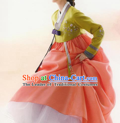 Traditional Korean Costumes Bride Formal Attire Ceremonial Green Blouse and Orange Dress, Korea Hanbok Court Embroidered Clothing for Women