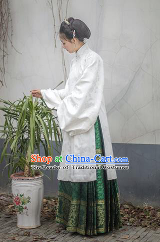 Traditional Chinese Ming Dynasty Imperial Concubine Costume Embroidered Blouse and Skirt, Asian China Ancient Palace Lady Hanfu Clothing for Women