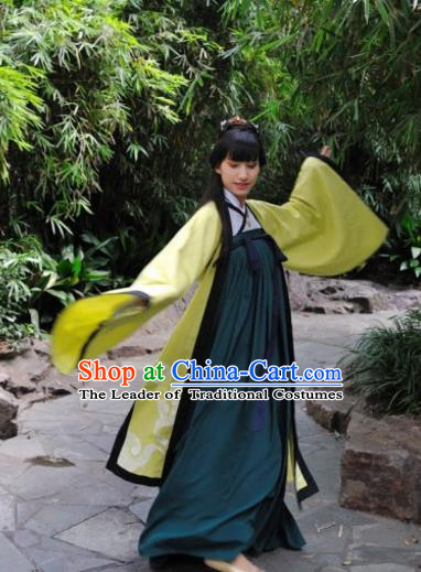 Traditional Chinese Tang Dynasty Nobility Lady Embroidered Dress Costume, Asian China Ancient Princess Hanfu Dress Clothing for Women