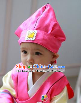Traditional Korean Hair Accessories Pink Baby Hats, Asian Korean Fashion National Boys Headwear for Kids