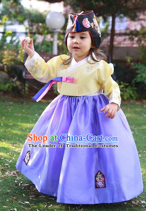 Traditional Korean Handmade Formal Occasions Costume Embroidered Yellow Blouse and Purple Dress Hanbok Clothing for Girls