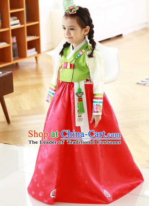 Traditional Korean Handmade Formal Occasions Costume Baby Princess Embroidered Green Blouse and Red Dress Hanbok Clothing for Girls