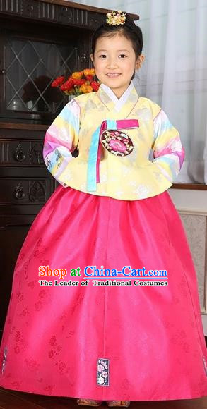 Asian Korean Traditional Handmade Formal Occasions Costume Baby Princess Embroidered Yellow Blouse and Pink Dress Hanbok Clothing for Girls
