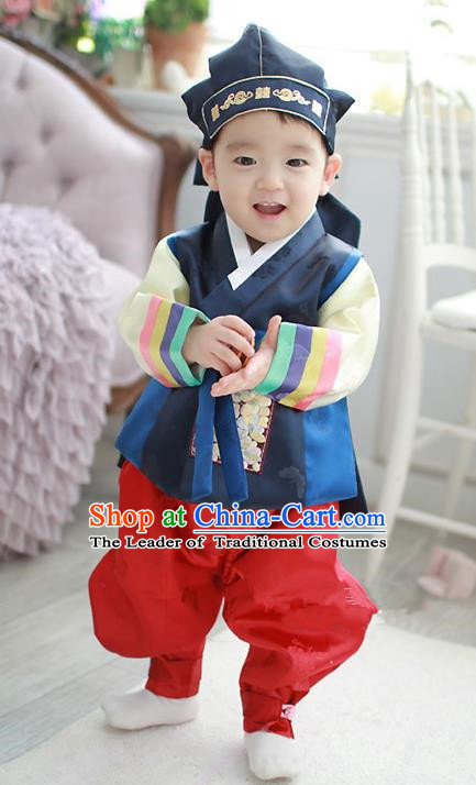 Asian Korean Traditional Handmade Formal Occasions Costume Baby Prince Embroidered Blue Hanbok Clothing for Boys