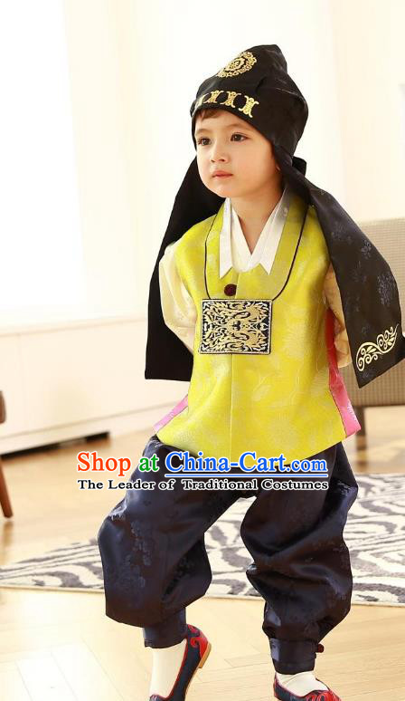 Asian Korean Traditional Handmade Formal Occasions Costume Baby Prince Embroidered Yellow Hanbok Clothing for Boys