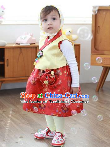 Asian Korean Traditional Handmade Formal Occasions Costume, Baby Princess Embroidered Red Hanbok Clothing for Girls