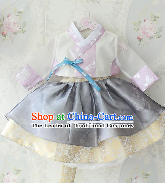 Asian Korean National Traditional Handmade Formal Occasions Costume, Palace Wedding Embroidered Grey Hanbok Clothing for Girls