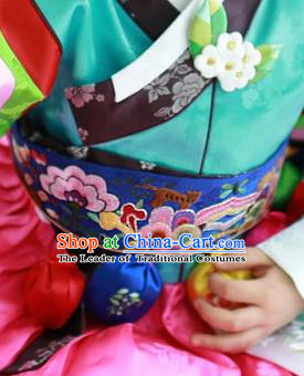 Traditional Korean Accessories Embroidered Blue Waist Belts, Asian Korean Fashion Wedding Tassel Waistband for Kids