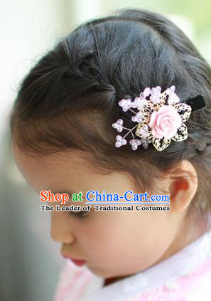 Traditional Korean Hair Accessories Pink Rose Hair Stick, Asian Korean Hanbok Fashion Headwear Hair Claw for Kids