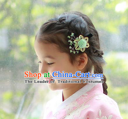 Traditional Korean Hair Accessories Green Rose Hair Stick, Asian Korean Hanbok Fashion Headwear Hair Claw for Kids