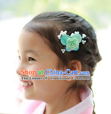 Traditional Korean Hair Accessories Blue Rose Butterfly Hair Stick, Asian Korean Hanbok Fashion Headwear Hair Claw for Kids