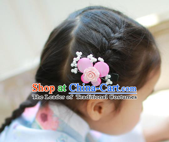 Traditional Korean Hair Accessories Pink Rose Butterfly Hair Stick, Asian Korean Hanbok Fashion Headwear Hair Claw for Kids