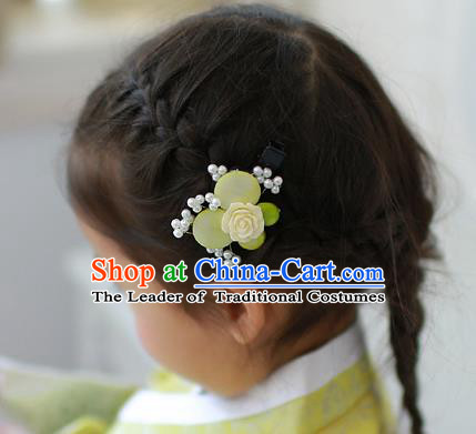 Traditional Korean Hair Accessories Green Rose Butterfly Hair Stick, Asian Korean Hanbok Fashion Headwear Hair Claw for Kids