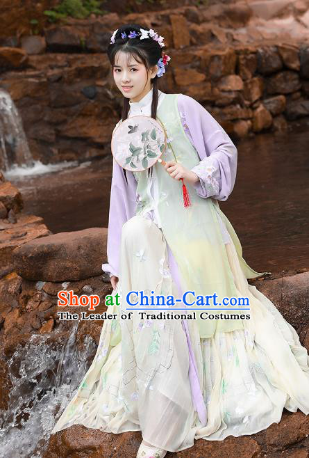 Asian China Ming Dynasty Palace Lady Costume Complete Set, Chinese Ancient Princess Embroidered Clothing for Women