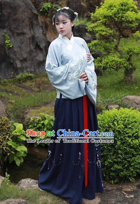 Asian China Ming Dynasty Palace Lady Costume Embroidered Sleeve Placket Blouse and Skirt for Women