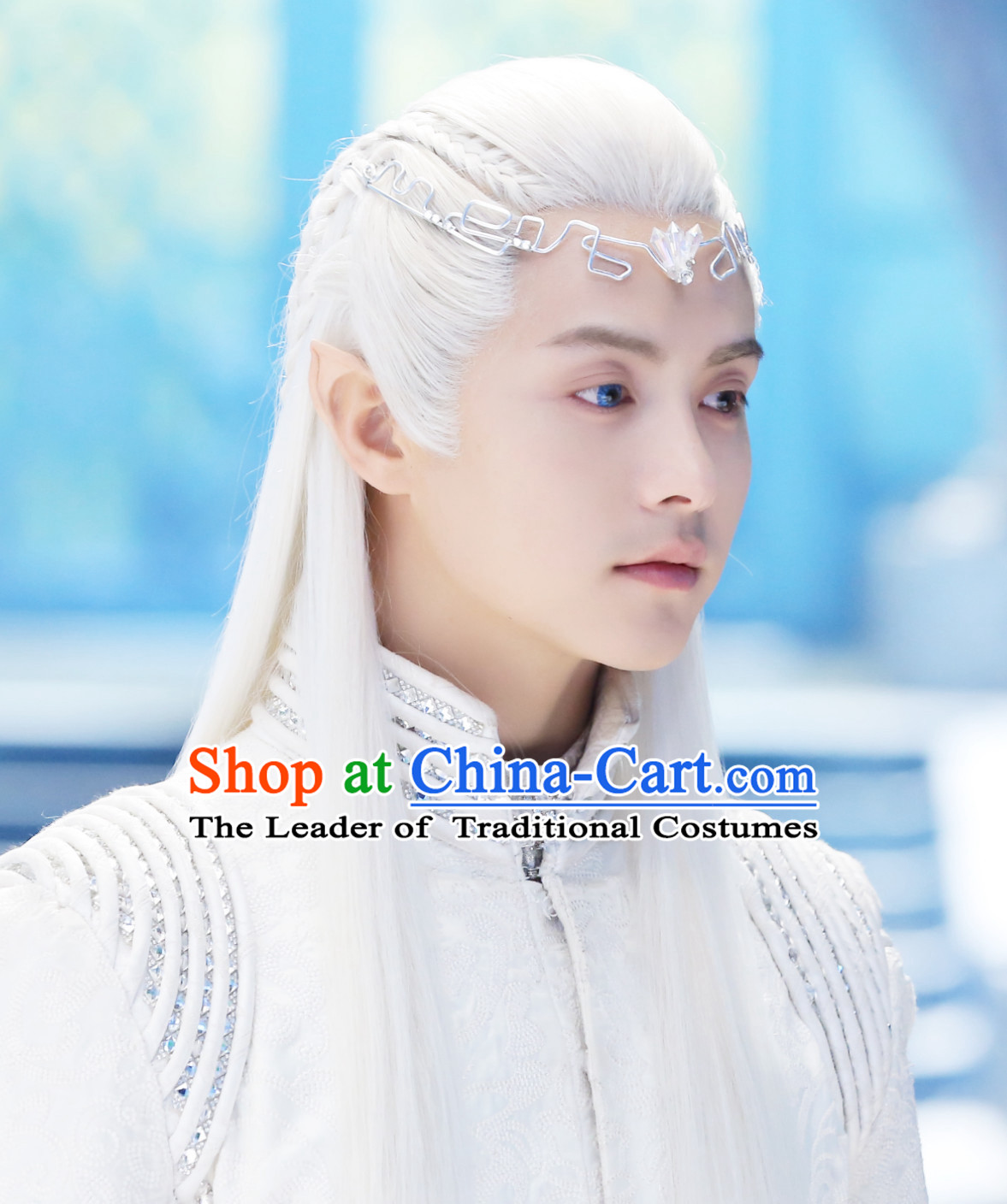 Ancient Chinese Fantasy Drama Style White Long Wigs and Hair Jewelry for Men