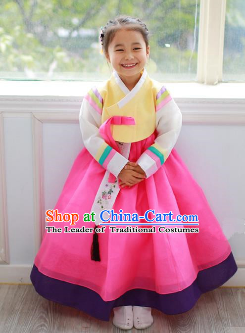 Asian Korean Traditional Handmade Formal Occasions Costume Princess Embroidered Yellow Blouse and Rosy Dress Hanbok Clothing for Girls