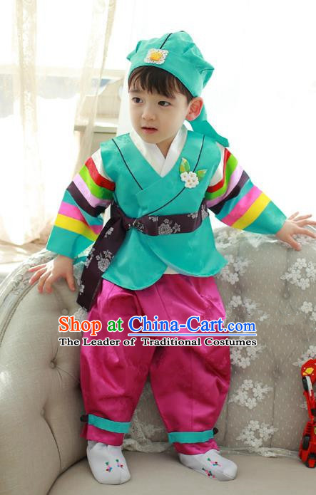 Asian Korean Traditional Handmade Formal Occasions Costume Palace Prince Embroidered Green Hanbok Clothing for Boys