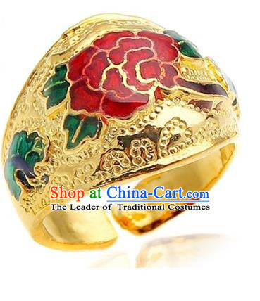 Traditional Korean Accessories Flowers Golden Rings, Asian Korean Fashion Jewelry for Kids