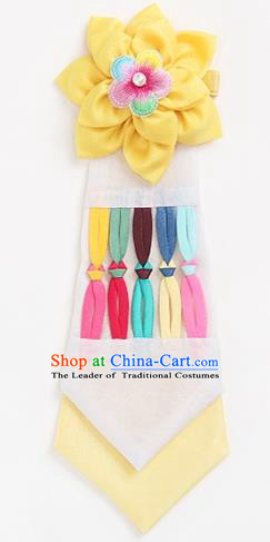 Traditional Korean Hair Accessories Girls Yellow Flower Hair Ribbon, Asian Korean Fashion Headwear Headband for Kids