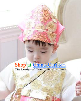 Traditional Korean Hair Accessories Boys Formal Occasions Embroidered Hats, Asian Korean Fashion Headwear for Kids