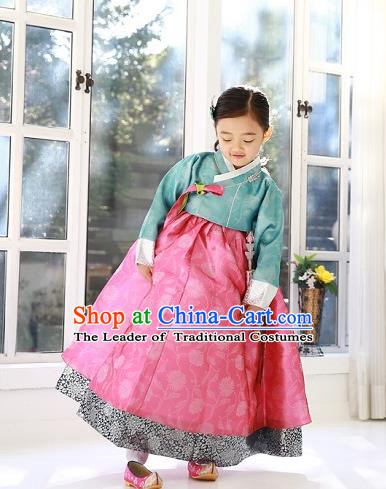 Asian Korean Traditional Handmade Formal Occasions Costume Palace Princess Embroidered Green Blouse and Pink Dress Hanbok Clothing for Girls