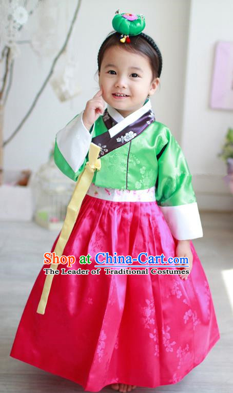 Asian Korean Traditional Handmade Formal Occasions Costume Palace Princess Embroidered Green Blouse and Red Dress Hanbok Clothing for Girls