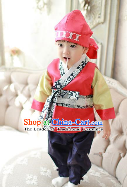 Asian Korean Traditional Handmade Formal Occasions Boys Red Costume Hanbok Clothing for Boys