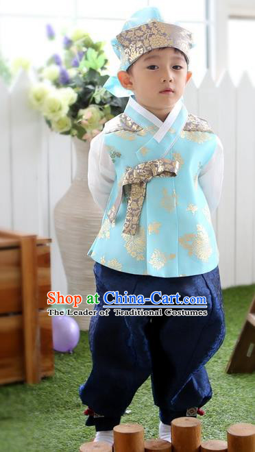 Asian Korean Traditional Handmade Formal Occasions Boys Embroidered Blue Costume Hanbok Clothing for Boys